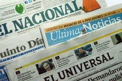 Periódicos venezolanos Imágenes de archivo libres de regalías