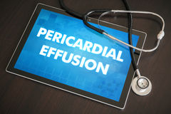 Pericardial effusion (heart disorder) diagnosis medical concept. On tablet screen with stethoscope stock photos