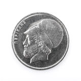 Pericles, ancient Greek leader and statesman, on 20 drachmas coi. 20 old Greek Drachmas coin isolated on white background Stock Photo