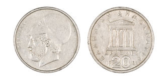 Pericles Coin. Greek Drachma coin with the portrait of Pericles and the Parthenon Stock Image