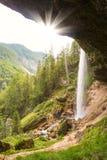Pericnik瀑布在特里格拉夫峰国家公园,朱利安阿尔卑斯山,斯洛文尼亚 免版税库存图片
