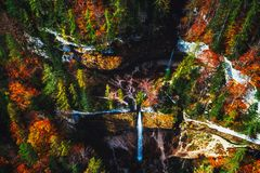 Pericnik waterfall in Slovenian Alps in autumn royalty free stock photo