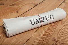 periódico del alemán del umzug Foto de archivo libre de regalías
