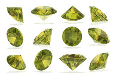 Peridot Diamonds set on White Background Royalty Free Stock Image