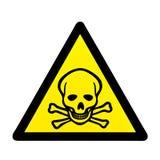 Perigo ao crânio de vida e ao sinal de aviso dos crossbones Fotografia de Stock Royalty Free