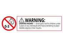 Perigo de bloqueio de advertência peças pequenas não para o infante 0-3 anos de sinal proibido ilustração royalty free