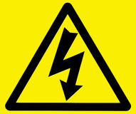 Perigo do sinal de aviso da electrocução Fotos de Stock