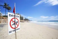Perigo nenhuma natação fotografia de stock