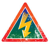 Perigo! Sinal de aviso elevado de Volatge Imagens de Stock