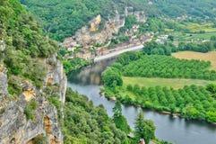 法国,美丽如画的多尔多涅省谷在Perigord 免版税库存图片