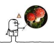 Perigos de advertência do doutor do homem dos desenhos animados do amanita do cogumelo ilustração stock