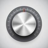 Perilla del volumen del cromo (botón, sintonizador de la música) Imagenes de archivo