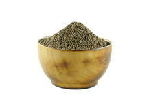 Perilla frutescens or sesame in wood bowl on white background. Stock Photo