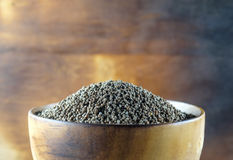 Perilla frutescens or sesame in wood bowl. Royalty Free Stock Photos