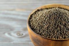 Perilla frutescens or sesame in wood bowl. Stock Image