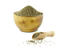 Perilla frutescens or sesame in wood spoon with wood bowl on whi Royalty Free Stock Images
