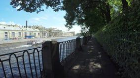 Perilla près du canal de rivière de Neva banque de vidéos