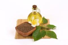 Perilla seeds and oil Perilla frutescens L. Britton Royalty Free Stock Photography