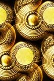 Perillas de puerta de cobre amarillo de la vendimia Fotos de archivo