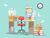 Period of accountants and financier reports submission. Office chair behind table with piles of paper documents and file folders. In cardboard boxes on office vector illustration