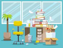 Period of accountants and financier reports submission. Pile of paper documents and file folders in cardboard boxes on office. Table. Flat vector illustration vector illustration