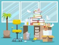 Period av revisorer och finansiärrapportundergivenheten Hög av pappers- dokument och mappmappar i kartonger på kontor vektor illustrationer