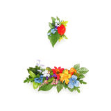 Period and dash made of leaves & flowers. Period and dash made of leaves and flowers stock photos