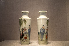 The period of the Republic of China ceramic art, powder painted `simple map` bottle. Chen Jia CI Tang and Chen Academy said. Built in the fourteen years of the stock image