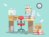 Periode van accountants en financierrapportenvoorlegging Bureaustoel achter lijst met stapels van document documenten en dossiero vector illustratie