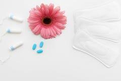 Perioden smärtar Smärtstillande medel och sanitär tillbehör arkivfoto
