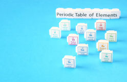 Periodensystem von Elementen. Selektiver Fokus. Wissenschaftsbildungskonzept Lizenzfreies Stockbild