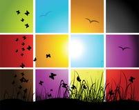 Periodi del giorno, tramonto sul prato Fotografia Stock