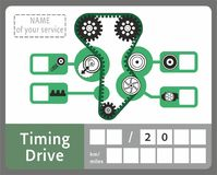 Periodic car sticker. Car service sticker for periodic belt change and rollers vector illustration