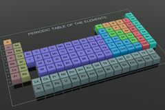 The Periodic Table. Periodic Table of the Elements - on black glass background Stock Photo