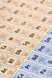 Periodic table. Macro detail of a self rendered periodic table of elements stock photography