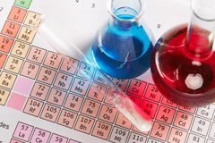 Periodic Table And Chemicals Stock Image