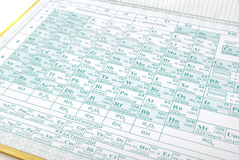 Periodic table of chemical elements stock photography