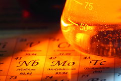 Periodic table chemical glass flask D. Photograph of the periodic table with laboratory flasks on it stock images