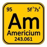 Periodic table element americium icon. Royalty Free Stock Image