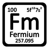 Periodic table element fermium icon. Periodic table element fermium icon on white background Stock Photos