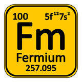 Periodic table element fermium icon. Periodic table element fermium icon on white background Stock Images