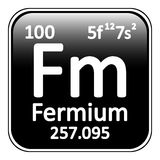Periodic table element fermium icon. Periodic table element fermium icon on white background Royalty Free Stock Images