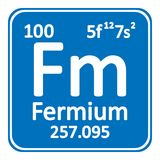 Periodic table element fermium icon. Periodic table element fermium icon on white background. Vector illustration Royalty Free Stock Photography