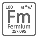 Periodic table element fermium icon. Periodic table element fermium icon on white background. Vector illustration Royalty Free Stock Images