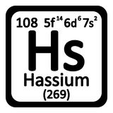 Periodic table element hassium icon. Stock Images