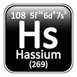 Periodic table element hassium icon. Stock Photos