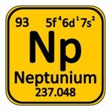 Periodic table element neptunium icon. Stock Image