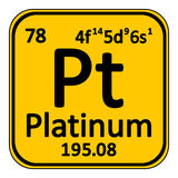 Periodic table element platinum icon. Royalty Free Stock Images