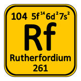 Periodic table element rutherfordium icon. Royalty Free Stock Photography