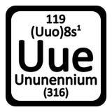 Periodic table element ununennium icon. Stock Photography
